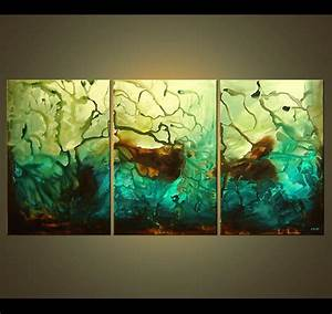 Painting - triptych canvas abstract art #4114