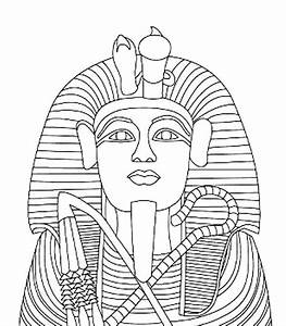 King tutankhamen39s gold coffin coloring page egypt theme for King tut mask template