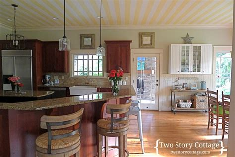 An Official Cottage Kitchen {wallpaper On The Ceiling}