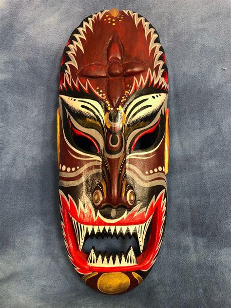 vintage hand carved  painted long wooden mask sharp