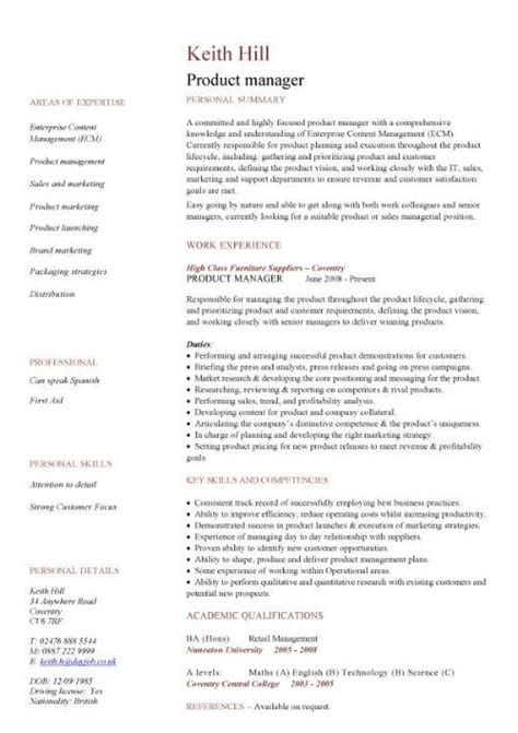 Exles Of Great Product Manager Resumes by Management Cv Template Managers Director Project Management Cv Exle