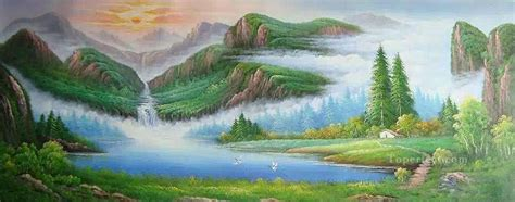Chinese Mountains Bob Ross Landscape Painting In Oil For Sale