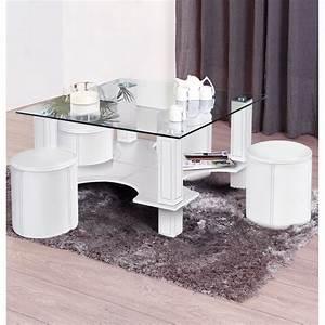 Table Basse 4 Poufs : table basse magda 4 poufs blanc ~ Teatrodelosmanantiales.com Idées de Décoration
