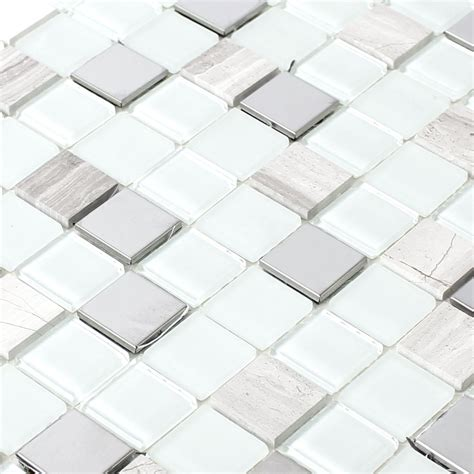 self adhesive metal mosaic tiles silver mix tm33438