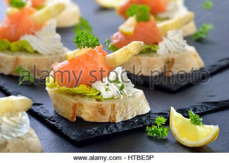 german canapes smoked salmon appetizer with cheese and caviar