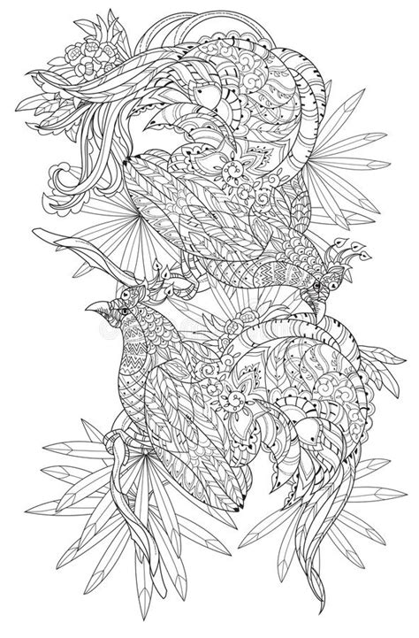 Stylized Tropical Bird.Hand Drawn Vector Stock Vector - Illustration of drawing, henna: 71168576
