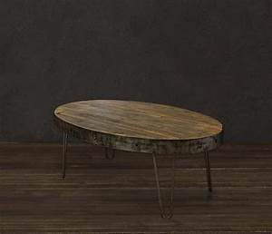 oval industrial reclaimed wood coffee table modern With oval industrial coffee table