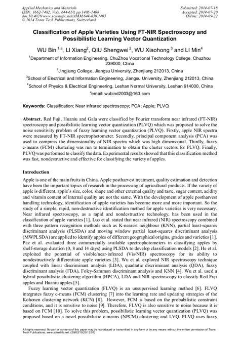 Classification of Apple Varieties Using FT-NIR