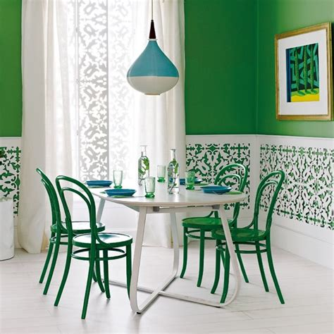 green and white fretwork dining room ideas 10