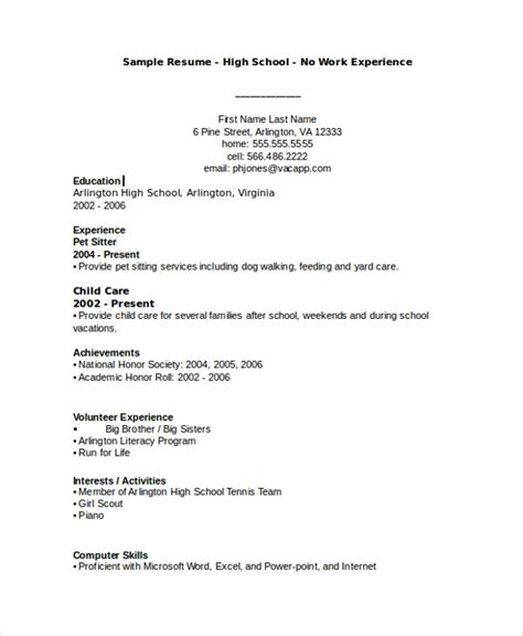 Exle Of A Basic Resume by Sle Resume 8 Exles In Word