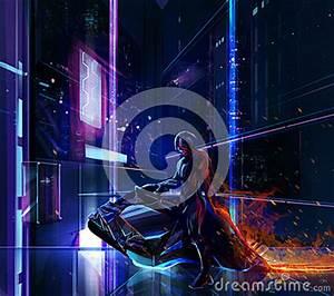 Sci fi Neon Warrior Bike Stock Illustration Image