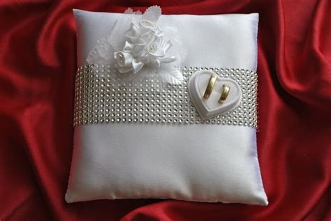 wedding ring cushion pillow decoration of roses and crystals rings holder ebay