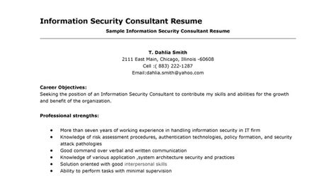 It Security Consultant Resume by Resume Sles Security Consultant Resume