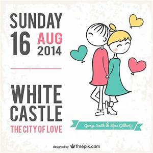 wedding card cartoon style vector free download With caricature wedding invitations online free