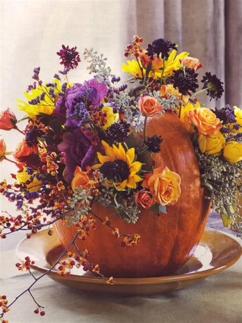beautiful floral pumpkin centerpiece pictures