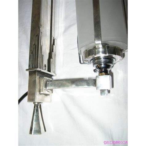 unusual pair of art deco wall lights with clear and