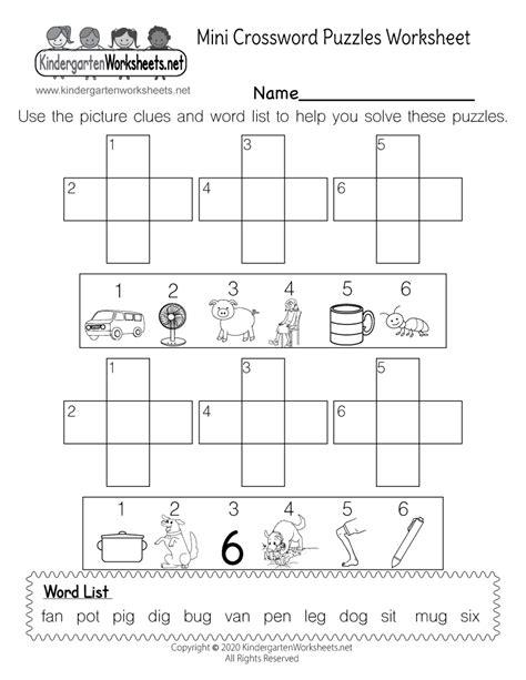 mini crossword puzzles spelling practice worksheet