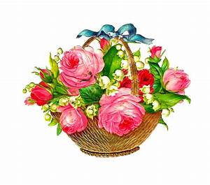 Antique Images: Free Flower Basket Graphic: Pink Roses and ...