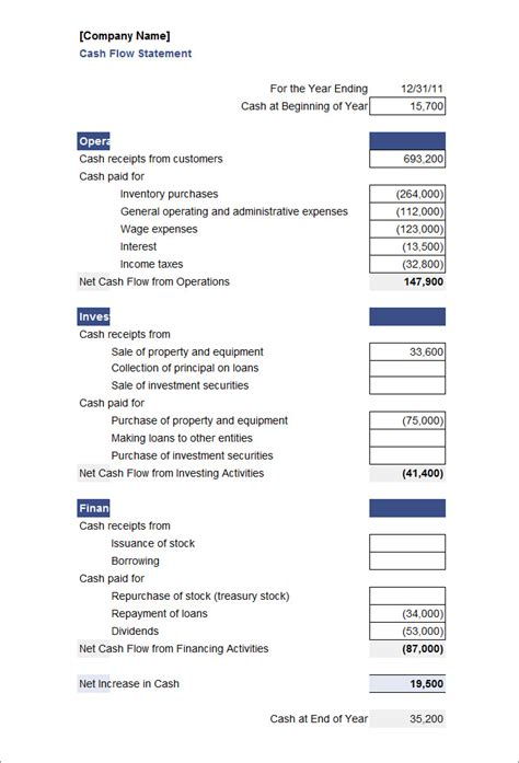 cash flow statement templates word excel ai