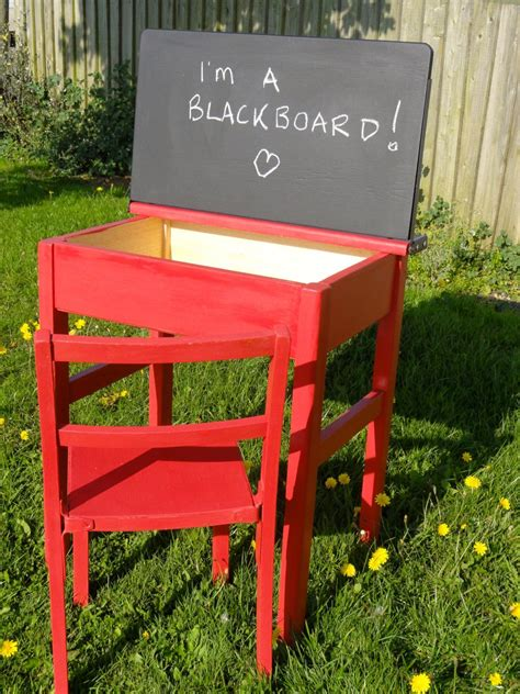upcycled hand painted vintage  childs school desk