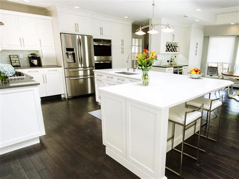 white l shaped kitchen with island photo page hgtv