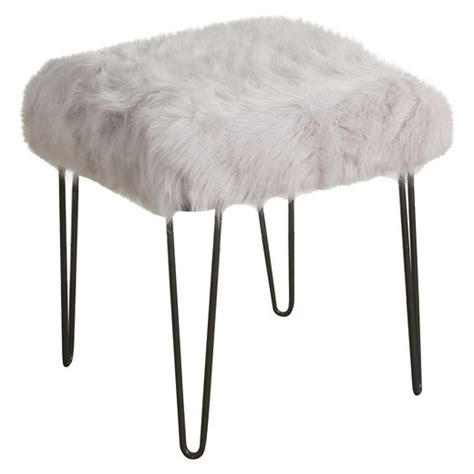 white faux fur stool faux fur gray stool homepop target 1297