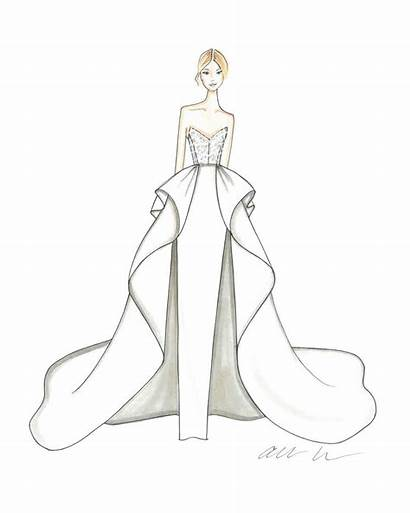 Sketches Gown Drawing Dresses Ball Bridal Spring