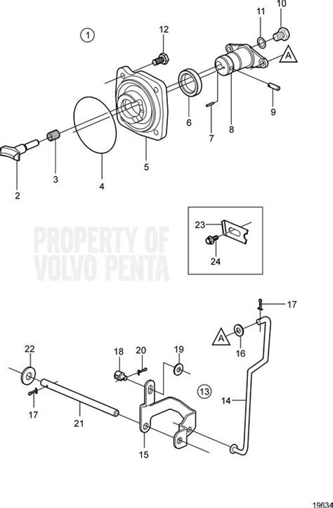 volvo penta exploded view schematic shift mechanism dp