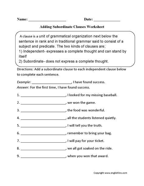 englishlinxcom clauses worksheets