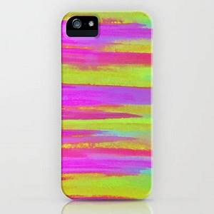 DISCO FEVER neon Pink Green Stripes iPhone 5 5c 6 6s 7 Case
