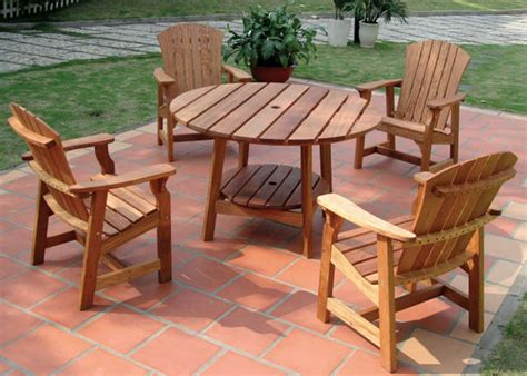 48 picnic table with four deck chairs eucalyptus