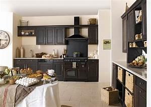 Exemple Cuisine Noire Style Bistrot Cuisine Pinterest Cuisine Noir Noir Et Cuisines