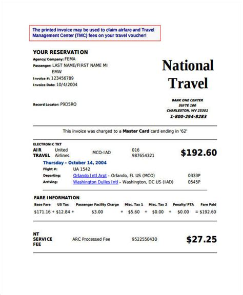 travel invoices  ms word
