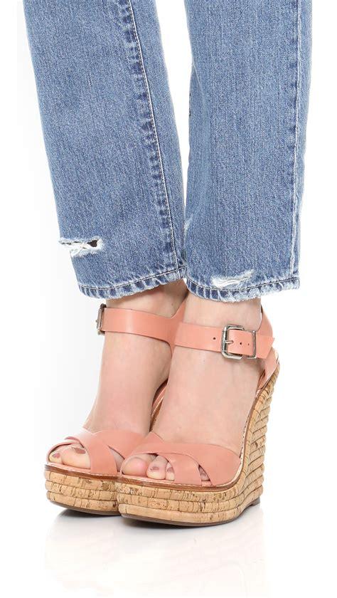 lyst schutz francine wedge sandals  pink