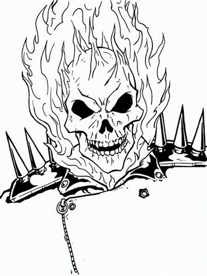 Ghost Rider Coloring Pages Ghostrider Face Drawing