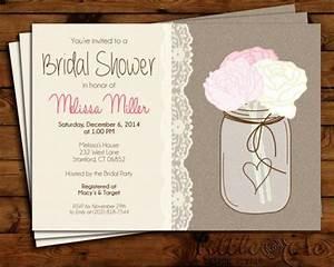 bridal shower invitation wedding shower invite bridal With free printable mason jar wedding shower invitations