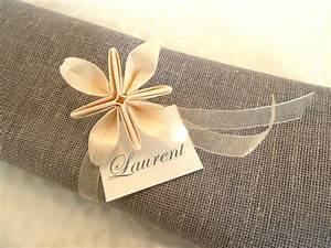 Rond De Serviette à Faire Soi Même : rond de serviette marques place pour mariage en origami ~ Nature-et-papiers.com Idées de Décoration