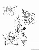 Coloring Hawaiian Lei Printable Tropical Flower Template Hawaii Templates sketch template