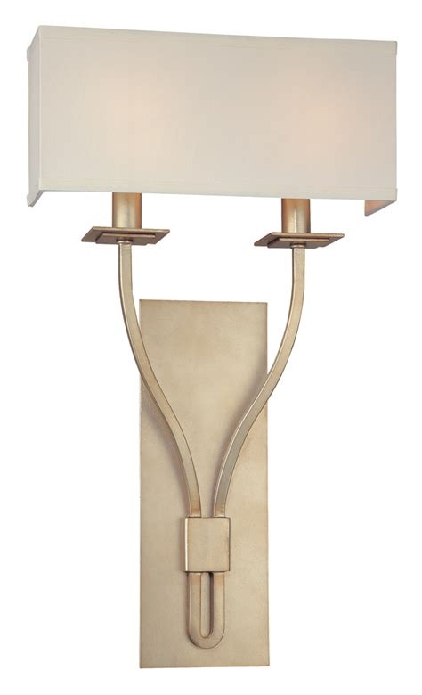 transitional two light wall sconce with rectangle shade