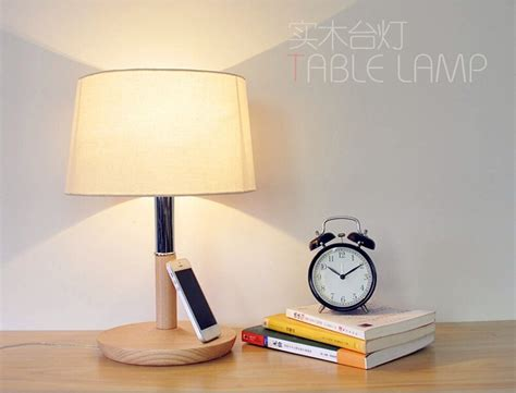 Wooden Table Lamp 280**280*400mm E27 Wood Cloth White Desk