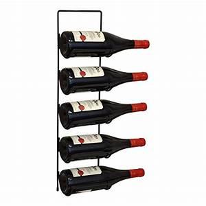 Casier Vin Compact Fixer Au Mur En Mtal Noir Pour 5