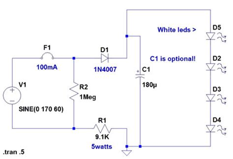 120 Volt Schematic Wiring by 120 Volt 4 Led Light Circuit Diagram Wiring
