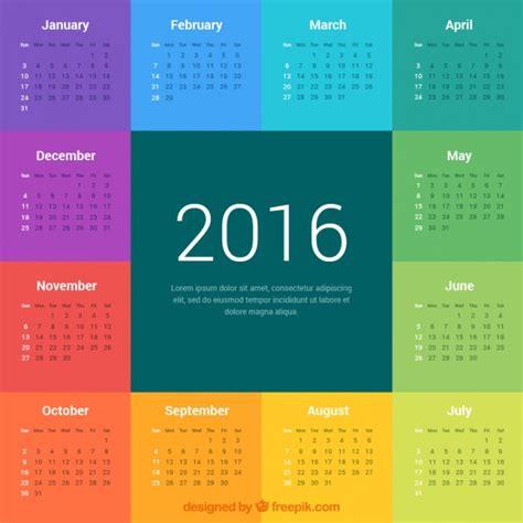 calendar colors colorful 2016 calendar vector premium