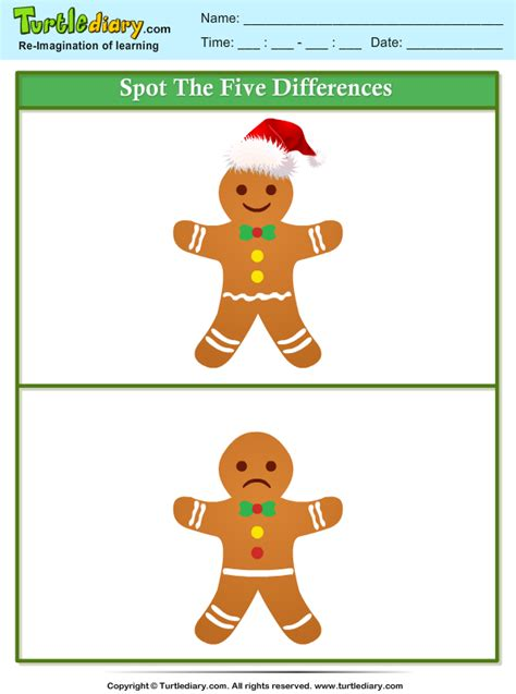 spot  difference gingerbread worksheet turtle diary