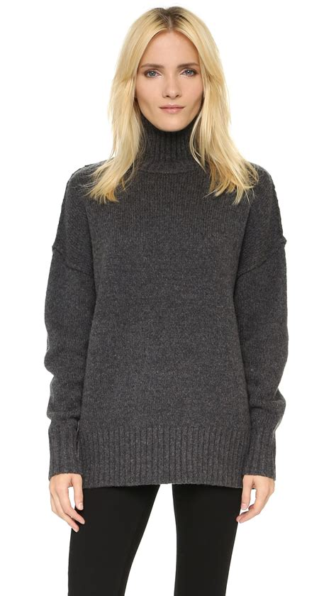 oversized sweater nlst oversize turtleneck sweater in gray lyst