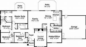 Ranch House Plan - 4 Bedrooms, 2 Bath, 2086 Sq Ft Plan 17-477