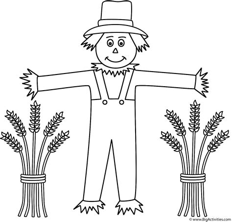 scarecrow  wheat sheaves coloring page autumnfall