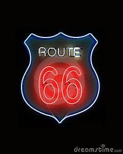 Route 66 Neon Sign Royalty Free Stock graphy Image