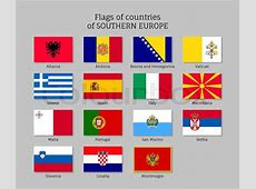 Set of flat flags of Southern Europe countries Greece