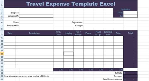 travel expense template excel  images excel templates